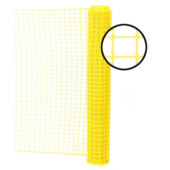 Resinet SLM4048100 - Heavy Duty Square Mesh Access Control Barrier Fence (4' x 100' Roll) - Yellow