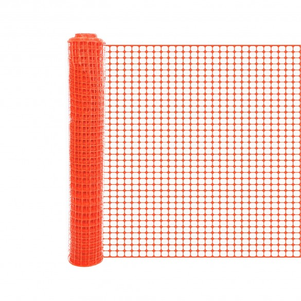 Resinet SLM4048100 Square Mesh Barrier Fence 4' x 100' Roll - Orange