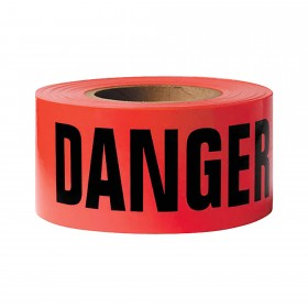 "Resinet DANGER Barricade Barrier Warning Tape - 1.5 Mil Thick (3"" x 1000' Roll) - Red"