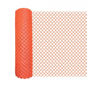 Resinet DM50448100 - Diamond Mesh Crowd Control Barrier Fence (4' x 100' Roll) - Orange
