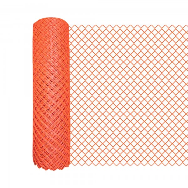Resinet DM50448100 Diamond Mesh Barrier Fence 4' x 100' Roll - Green (Orange Shown As Example)