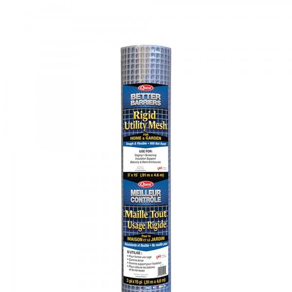 """Resinet HC315 - 3' x 15' Rigid Utility Mesh - 1/2"""" x 1/2"""" Mesh (Silver)"""
