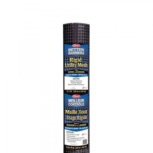 """Resinet HC315B - 3' x 15' Rigid Utility Mesh - 1/2"""" x 1/2"""" Mesh (Black)"""