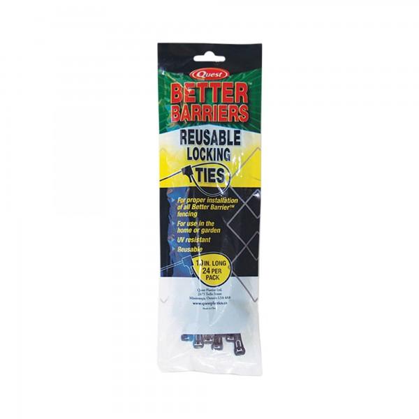 "Resinet 10"" Reusable All-Purpose Manual-Locking Fence Ties (24 Pack, Black) - LT1024"