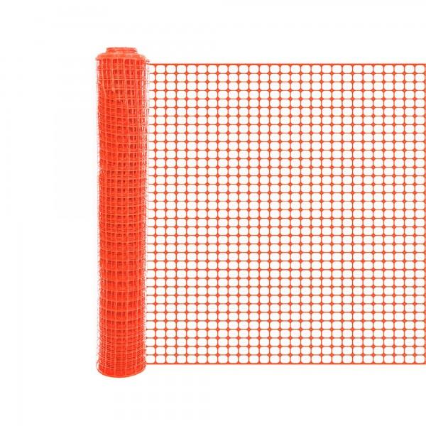 Resinet SLMUT48100 Economy Square Mesh Barrier Fence 4' x 100' Roll - Orange